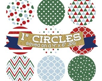 "ON SALE Christmas Digital Collage Sheet Red Green Blue Holiday Digital Bottle Cap Images 1"" Circles"