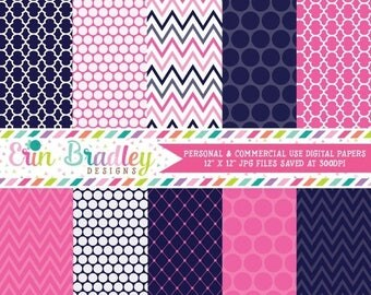 50% OFF SALE Digital Paper Pack Personal and Commercial Use Blue and Hot Pink
