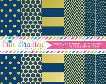 50% OFF SALE Digital Paper Pack Gold Foil & Navy Blue Commercial Use Digital Scrapbook Papers Polka Dots Stripes Herringbone and Chevron
