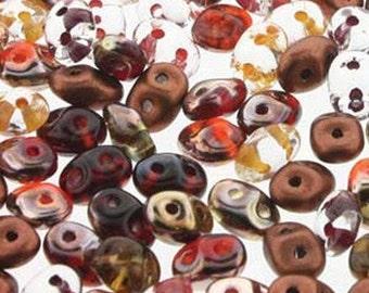 50 Grams 2mm x 5mm Autumn Fire SuperDuo 2 Hole Czech Seed Beads