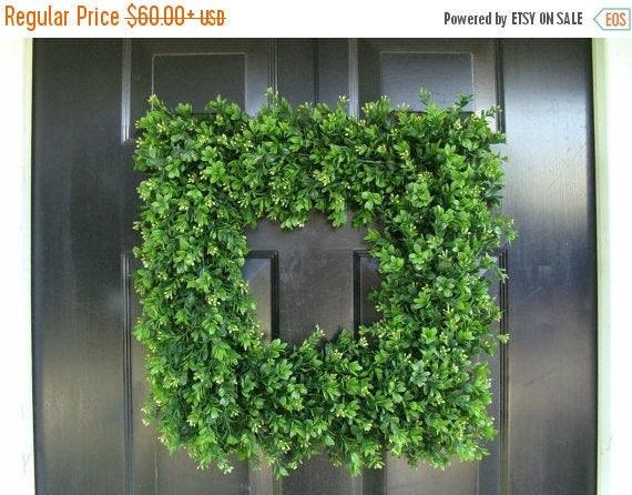 SPRING WREATH SALE Front Door Wreath, 20 inch Square Boxwood Wreath, Spring Outdoor Wreath,  Front Door Decor, Wedding Wreath, Thin Wreath,