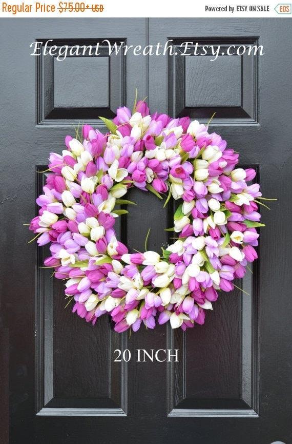 SPRING WREATH SALE Silk Thin Spring Tulip Wreath, Storm Door Wreaths, Front Door Outdoor Wreath,  Front Door Spring Decor, Sizes 14-22 inch