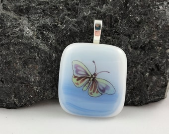 Butterfly Pendant - Fused Glass - Colored Decal - Blue and White - Necklace - Jewelry