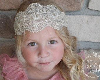 Gold lace Stretchy headband, girl hair band, girl headband, turban, head wrap, toddler girl, girl birthday gift, white headband, black band