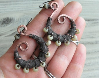 Silk Wrapped Spiral Earrings, Medium, Army Green and Cream, Bohemian Hoops, Dark Copper Dangles, with Sterling Ear Wires
