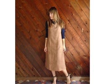 Brown Micro Suede Mid Length Dress - Vintage 90s - SMALL