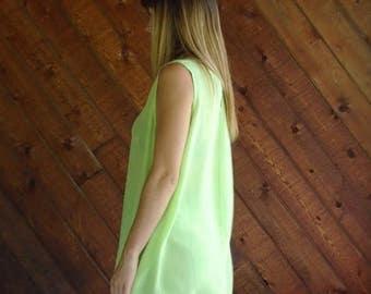 25% off Flash Sale . . . Neon Lime Green Silk Tank Blouse - Vtg 90s - Plus size 2X