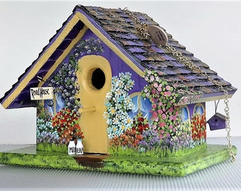 Flowery , Colorful , Lavender Handmade Birdhouse , Hand Painted with Lots of Character