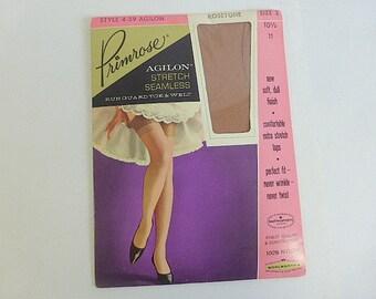 Primrose Agilon Stretch Seamless Rosetone Nylons Woothworths Vintage Ladies Nylons Size 3 10 1/2-11 Stretch Tops Stockings 100% Nylon Hose