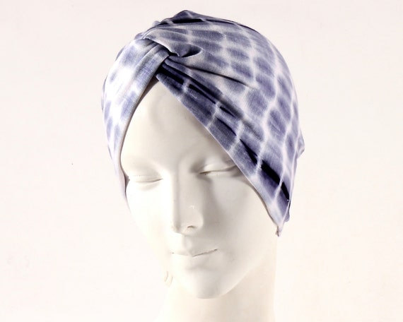 Tiedye Turban Shibori Women's Turban Chemo Turban Music Festival Hat Bohemian Hat Boho Turban Hair Cover Turban Denim Blue Hat Summer Turban