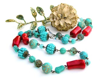 Turquoise Necklace, Red Coral Necklace, Vintage Beaded Necklace