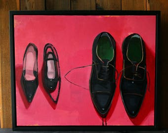 Oil Painting Original Art Shoes Black and Pink Contemporary Still Life Hand Painted By Bobbie Jansen At Etsy