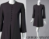 80s Giorgio Armani black wool long sleeve mini dress | size small