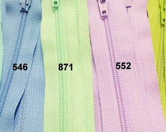 YKK assorted Pastel Zippers- 20- Pick your length~ZipperStop Wholesale Authorized Distributor YKK®