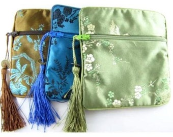 """Lined Satin Pouch Jewelry Zipper Bags with Tassel 4 1/2"""" Square (Set of 3)"""