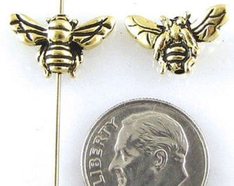 TierraCast Pewter Beads-Antique Gold HONEY BEE (2)