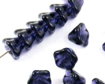 Czech Glass Bell Flower Beads-DEEP VIOLET PURPLE 6x8mm (25)