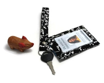 ID Badge Holder with a Matching Wristlet and a Back Pocket -  White leaves and branches on black - Ready to ship