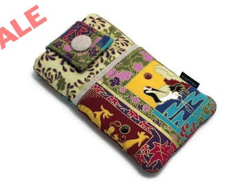 SALE & Ready to Ship - iPhone 6, 6s, 7 case, Fabric iPhone Pouch - Japanese Kimono - Oriental Style, Crane