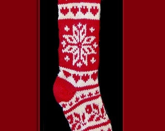 Hand knit Christmas stocking,  Personalized, made of pure wool yarn,  fully lined -- flower, heart and snowflake