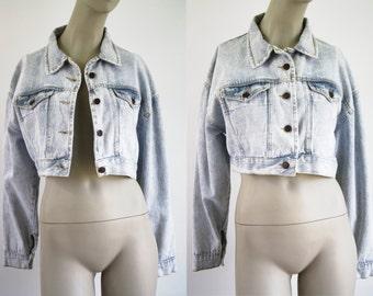 Light Denim Vintage Cropped Woman's Jean Jacket