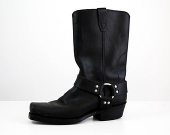 Men's size 9.5 or Woman's size 11 Vulcan Harness Black Leather Motorcycle Boot