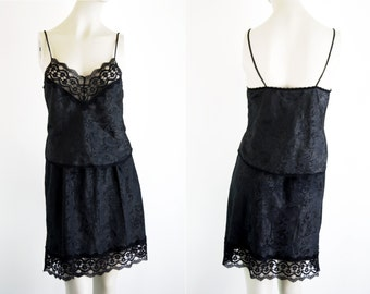 Woman's Vintage Black Two Piece Retro Lingerie Skirt Slip and Matching Tank