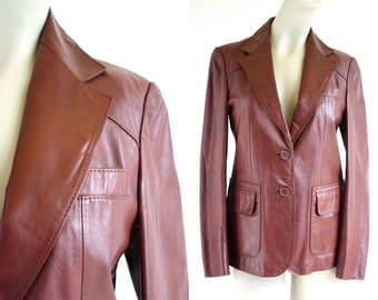 Vintage Berman's Reddish Brown Leather Blazer Style Retro Woman's Jacket