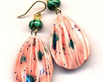 Malachite Earrings, 18 K Gold Filled Ear Wire Earrings, Porcelain Earrings, Handmade Clay Peach Pink Green Gold Earrings, Petals Earrings