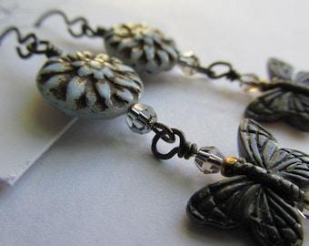 Blue Dahlia Butterfly Dangle Earrings, Handcrafted Earrings, Czech Glass Earrings, Earrings, Tracee Dock, The Classic Bead