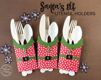 KIT Santa's Elf Utensil Holders / Christmas Breakfast / Christmas Place Setting / Santa Claus / Christmas Elf / Christmas Place Setting