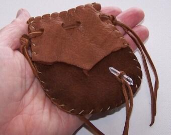 Beautiful Deerskin Medicine Bag ..BROWN
