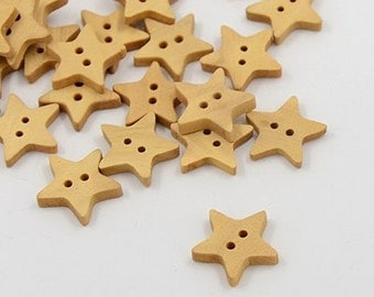 Star Wood Button - set of 25 - #BUTTON381