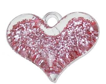 Pink Glitter Heart Pendant - Set of 5 - #HK1239