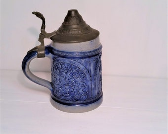 Vintage Stone Gray and Cobalt Blue Lidded Beer Stein 1/2 L