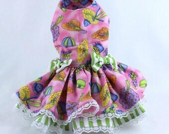 Dog Dress, Dog Harness Dress, Dog Clothes for Small Dog, Ruffle Dress for Dogs, Summer Dress, Handmade Dress, Custom Dress, Pink, Hat