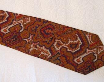 Vintage Men's Pride of England All Silk Necktie - Hand Blocked in England - Gold, Red, Black