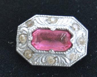 Pretty Antique Victorian Pink Stone, Rhinestone, Silver tone Brooch, early 1900's (O2)