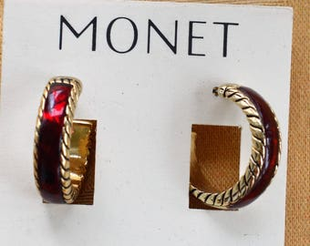 "Pretty Vintage Burgundy, Gold tone Hoop Pierced Earrings, ""Monet"" (C1)"