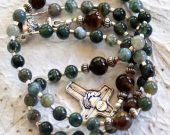 Boy's Catholic 1st Communion Green Agate Rosary