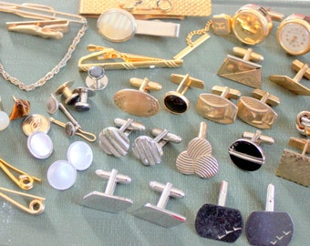 Vintage Antique  LOT Mens Cufflinks Cuff Links Single Swank 1950s 1960s Destash Supplies Crafting Altered art Assemblage