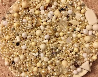 HUGE 1 pound 15 oz Destash Bead Mix Vintage Pearl Glass Plastic Bone Metal White Natural Neutral Inspiration Altered art