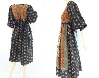 Vintage Boho Dress 70s Peasant Dress Boho Floral Dress 1970s Gypsy Dress Boho Midi Dress 70s Festival Dress Black Floral Hippie Dress m