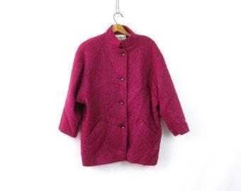 Vintage 1980s Mohair Wool Coat Raspberry Pink Dress Coat Shaggy Furry Fall Jacket Preppy Hipster Modern Chic Women's Size 12 Petite Medium