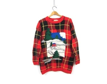 90s Chunky Holiday Sweater thick Winter Cotton Sweater Long Plaid Red Pullover Knit BARN Novelty Christmas Sweater Medium