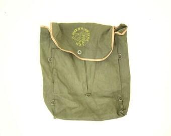 Vintage Army Green Back Pack Rucksack Alpine D Ring Pack Camping Backpack Duffle Bag Japan Rugged Loop Tie Travel Bag Backpackers Bag