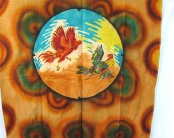 Vintage Rooster Cock Blanket Rebersible Pink Plaid Blanket with Fringe Wool Camp Blanket Bedding Print Throw
