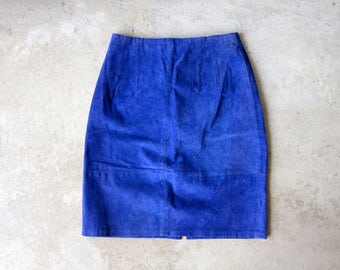 Vintage 80s PURPLE Suede Skirt Leather Miniskirt 1980s High Waist Leather Pencil Skirt Hipster Boho Indie Girl Womens Waist 24 - 25 Inches