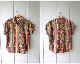 Southwestern Print Shirt Vintage Tribal Tee Oversized Tshirt Top 80s 90s Orange Red Boho Shirt Button Up TShirt Cap Sleeve Tee Medium Large
