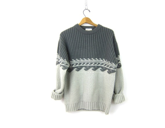 Gray Ski Sweater 1970s Sweater Chunky Knit Men's Winter Retro Pullover Preppy Boho Sweater Vintage Size XL Extra Large